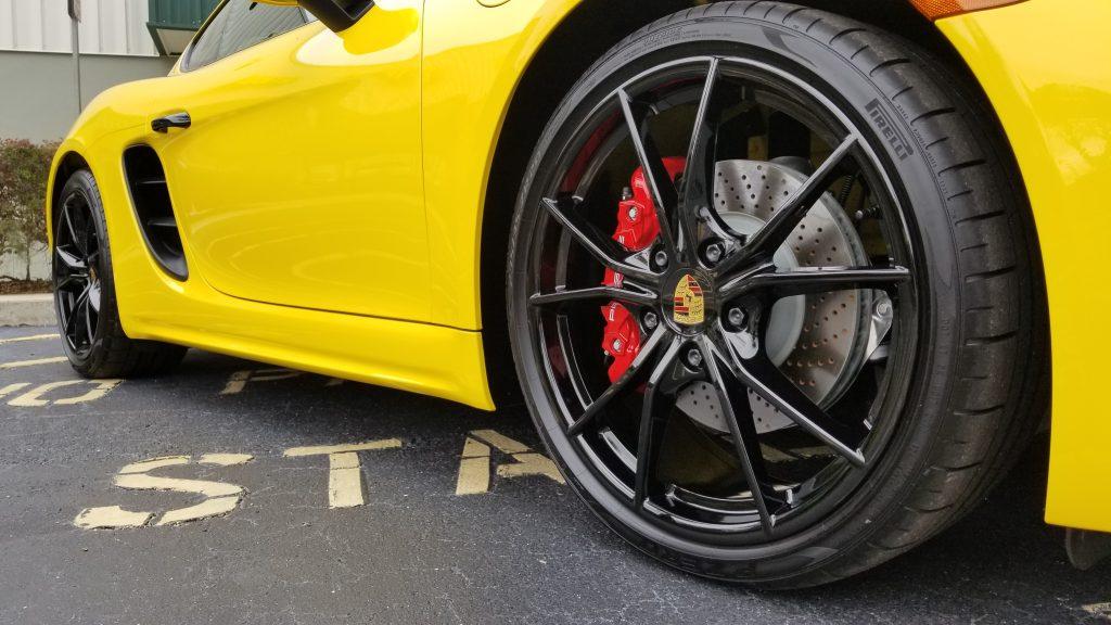 Yellow Porsche Cayman with Swissvax