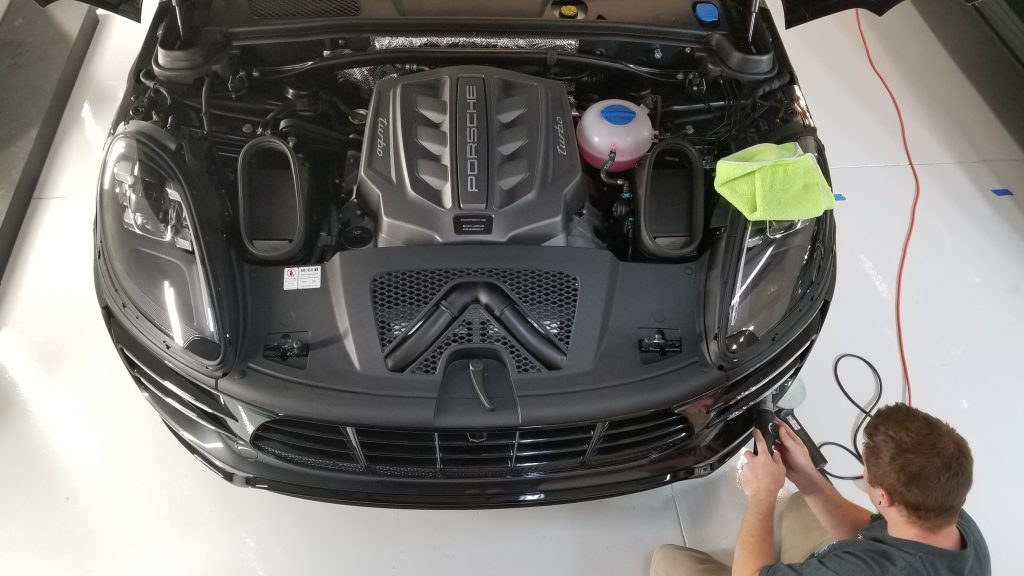 Polishing front bumper on Porsche Macan