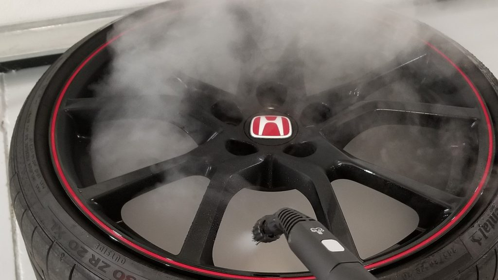 Steam cleaning wheels off Honda Civc Type R