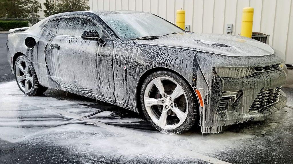 Camaro 2SS covered in foam soap