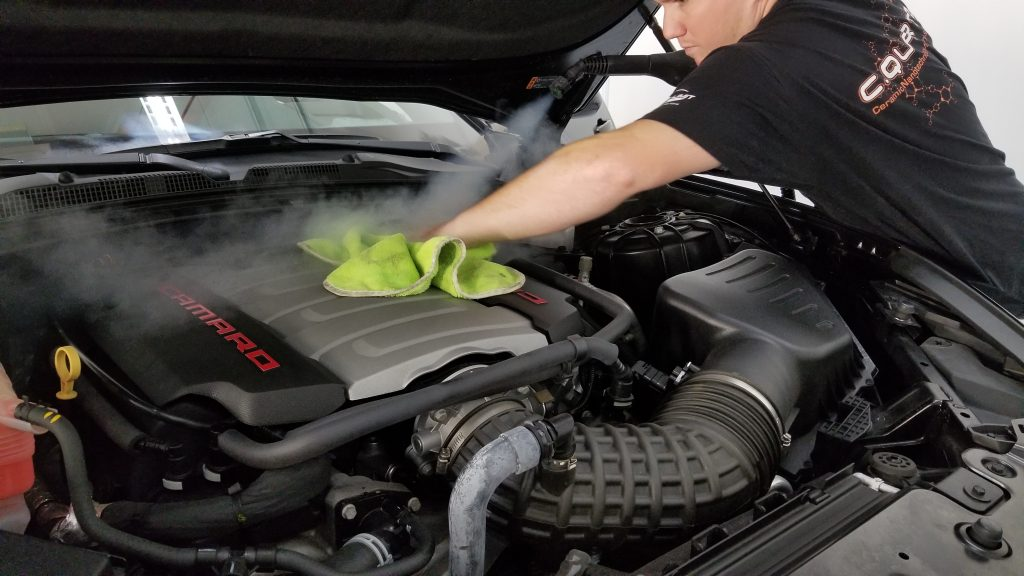 Cleaning the engine bay on a Camaro 2SS