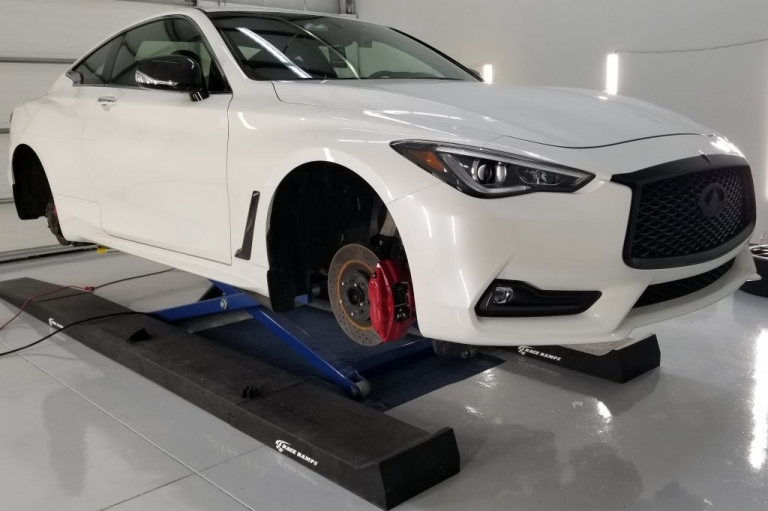 Wheels off service for Cquartz Finest Reserve on a Infiniti Q60