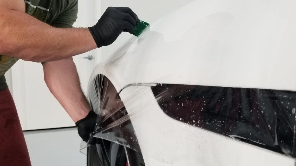installing paint protection film on f-type hood